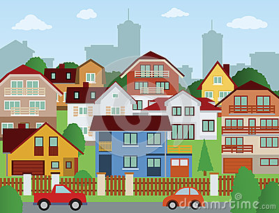 Suburb clipart svg royalty free library Suburb Scene With Houses And | Clipart Panda - Free Clipart ... svg royalty free library