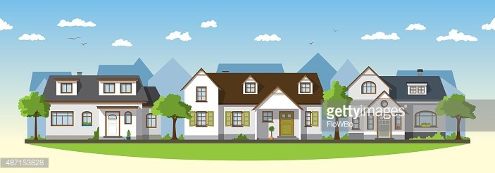 Suburb clipart banner stock Three Classical Country Houses IN The Suburbs premium ... banner stock