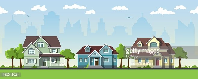 Suburb clipart clip black and white library Three Classical Country House IN The Suburbs premium clipart ... clip black and white library