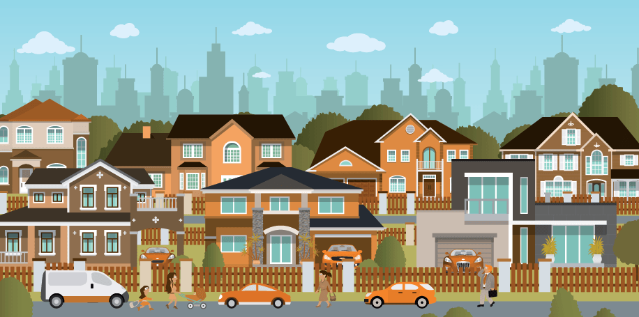 Suburb clipart vector black and white stock Cities - Suburb | Clipart | PBS LearningMedia vector black and white stock