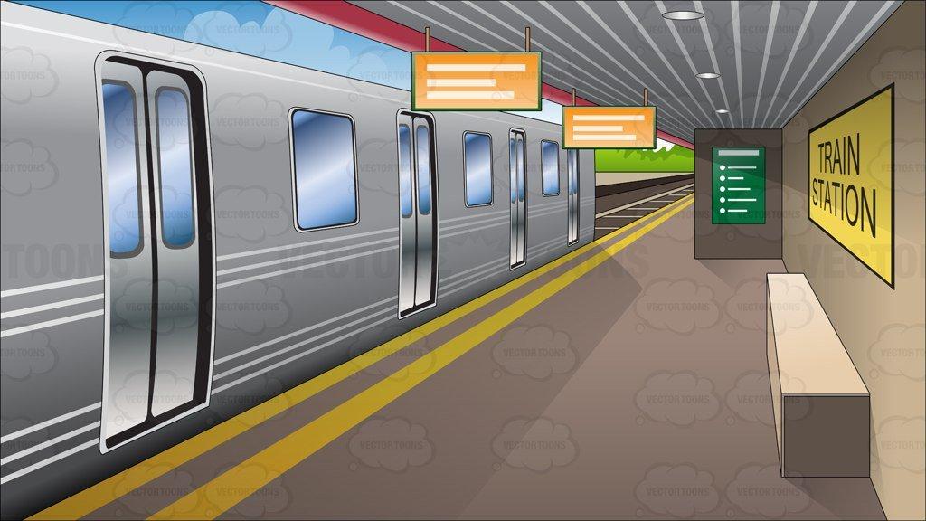 Subway station clipart banner transparent stock Platform At Train Station Background banner transparent stock