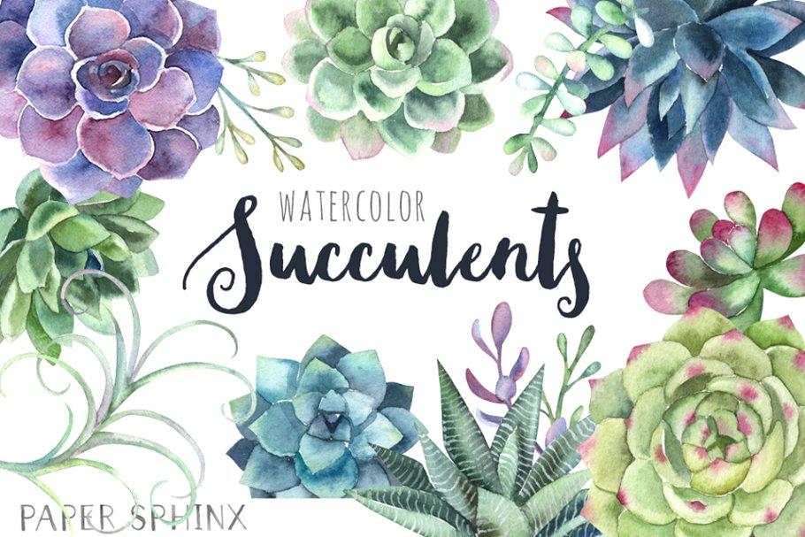 Succulents clipart clip freeuse stock Watercolor Succulents Clipart clip freeuse stock