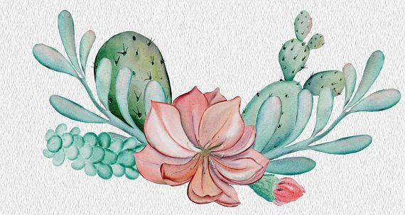 Succulent clipart download picture royalty free download 26 WATERCOLOR CACTUS CLIPART download, commercial use ... picture royalty free download