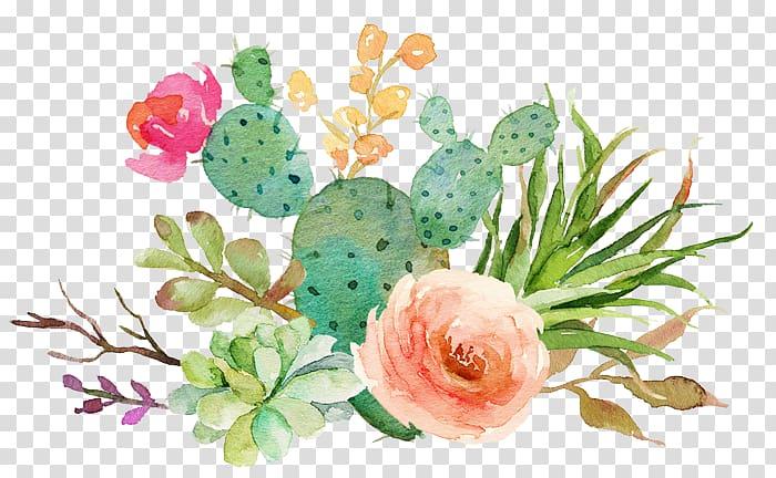 Succulent clipart download clip art freeuse download Free download | Pink rose and green succulents swag ... clip art freeuse download