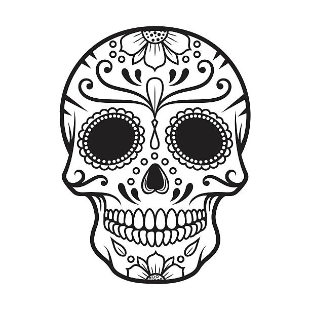 Sugar scull clipart png transparent stock Sugar skull clipart black and white 6 » Clipart Station png transparent stock