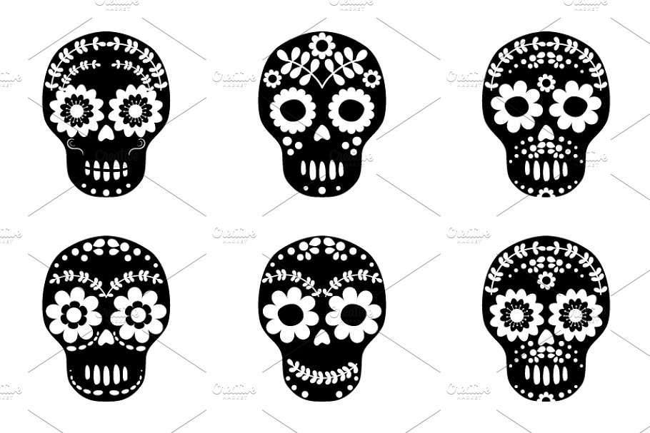 Sugar scull clipart vector freeuse Black and white floral skull clipart vector freeuse