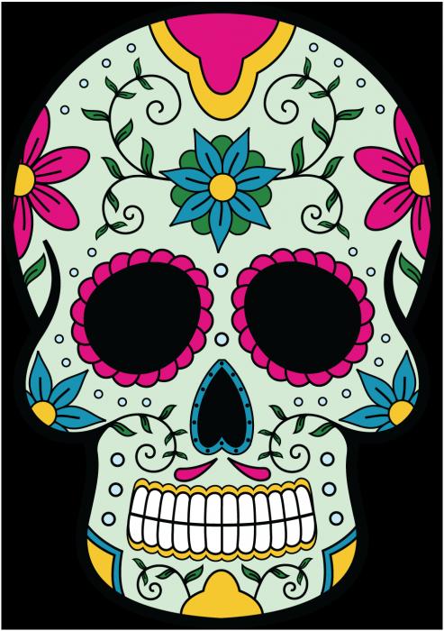 Sugar skull pumpkin clipart jpg free Sticker Calavera - Tete De Mort Mexicaine 9 - ref.d7447 | MPA Déco ... jpg free