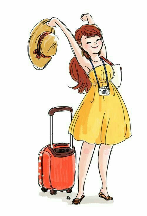 Woman with suitcases caricatures clipart image freeuse library traveling world | casual fashion | Travel illustration ... image freeuse library