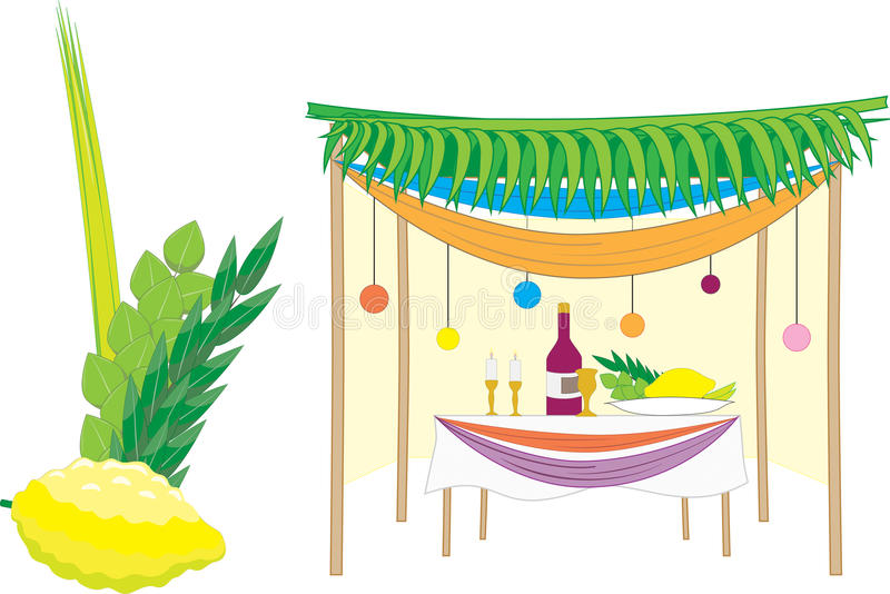 Clipart succah royalty free Sukkah And The Four Species Stock Illustra #242825 ... royalty free