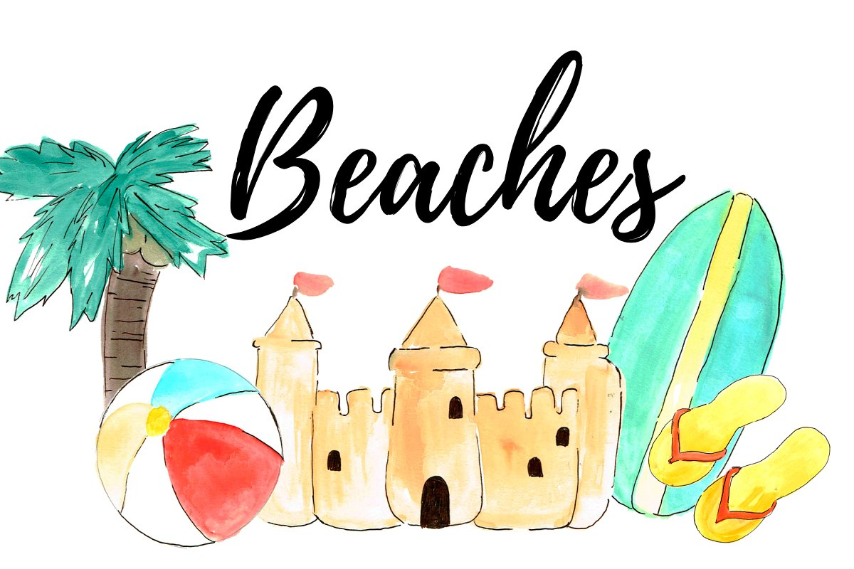 Summer scroll clipart png library stock Watercolor Summer Beach Clipart png library stock