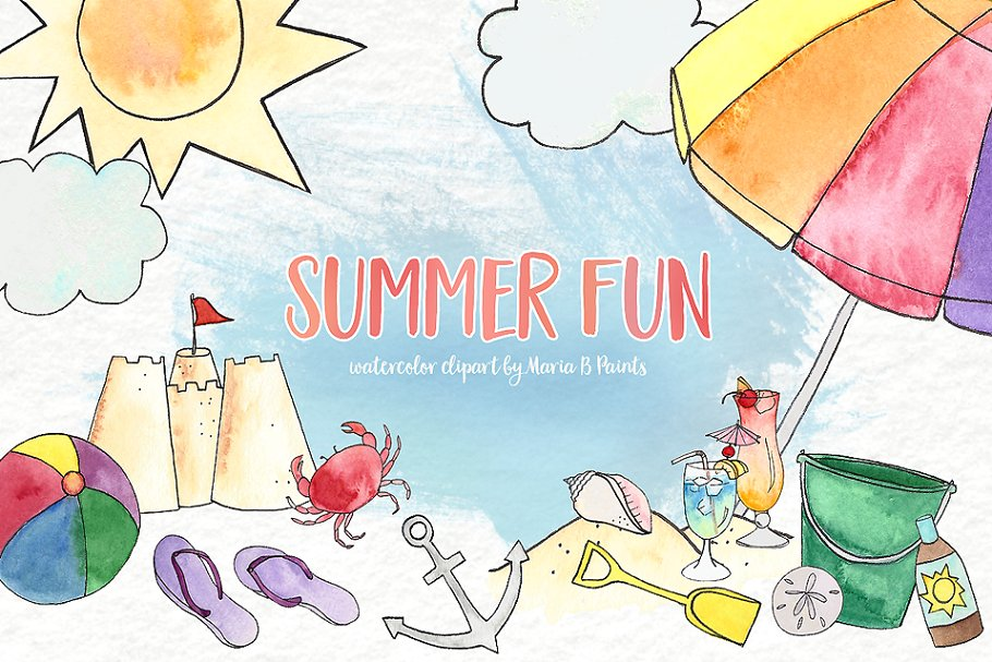 Summer beach clipart images image black and white library Watercolor Clip Art - Summer Beach image black and white library