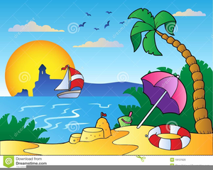 Summer beach scene clipart