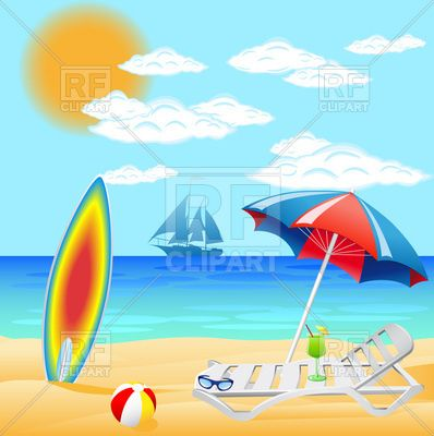 Summer beach scene clipart image black and white stock Sea beach with deck chair and sunshade - summer resort for ... image black and white stock