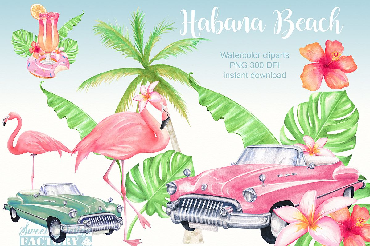 Summer cars clipart banner library library Watercolor flamingos and retro cars summer clipart banner library library
