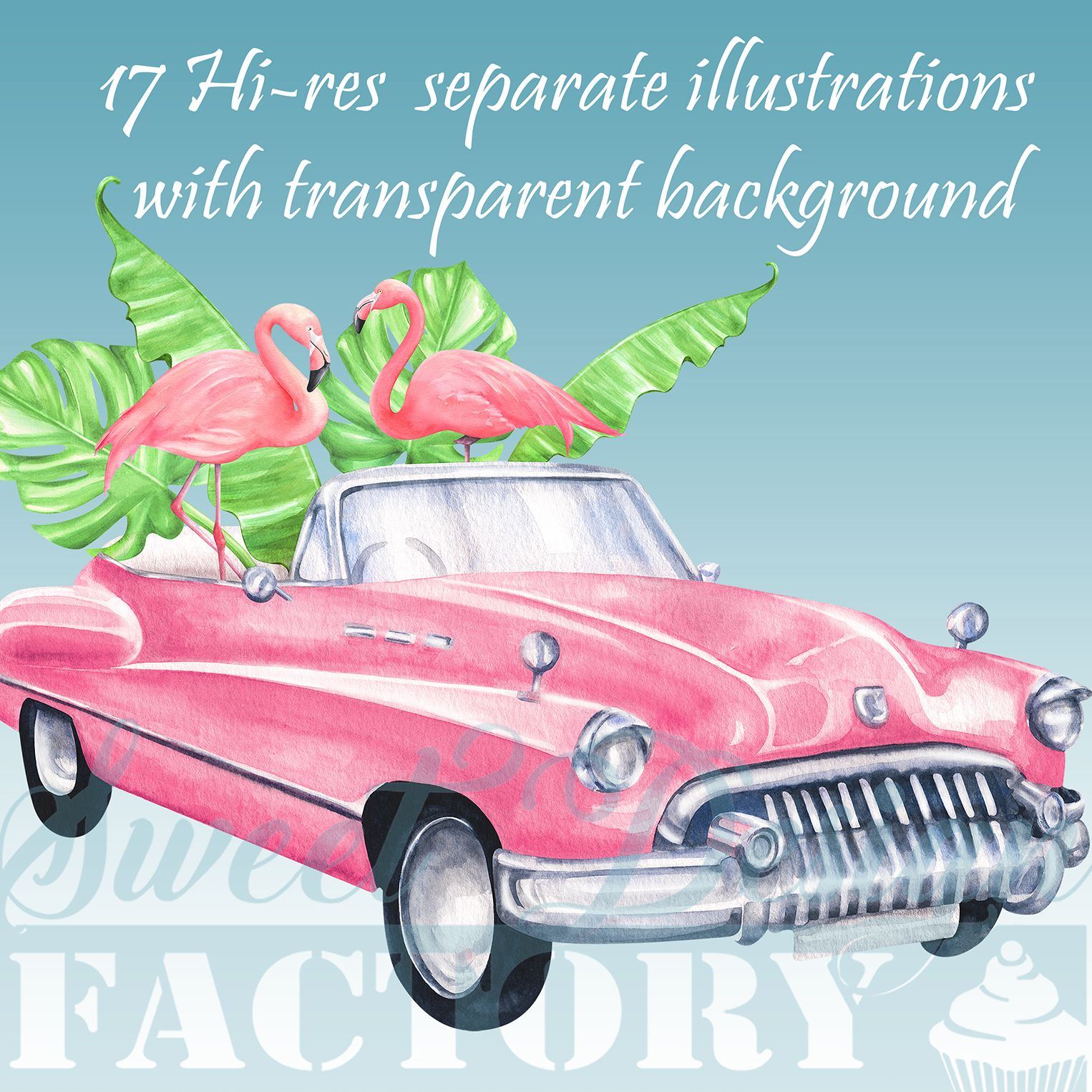 Summer cars clipart clip stock Retro cars and flamingos clipart | **Cliparts and digital ... clip stock