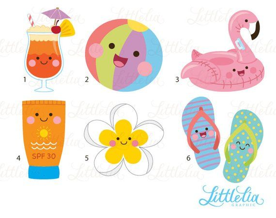 Summer clipart cute clip freeuse download Pool kawaii clipart - summer clipart - 17023 | Products ... clip freeuse download