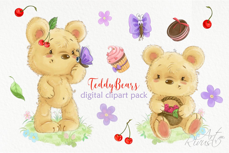 Summer clipart cute image transparent download Cute digital watercolor bear clipart Summer clipart Cherry image transparent download