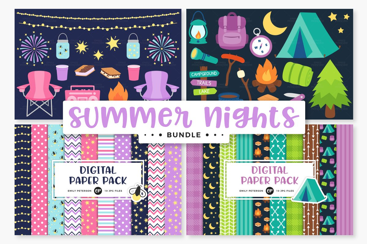 Summer clipart digital paper