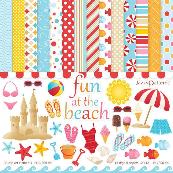 Summer clipart digital paper image royalty free Beach clipart and digital papers, summer backgrounds ... image royalty free