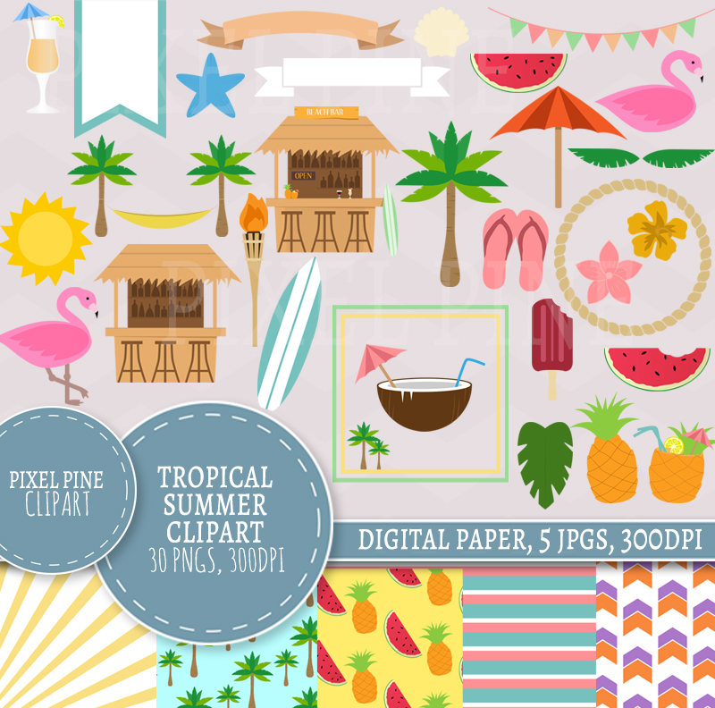 Summer clipart digital paper picture black and white stock Tropical Summer clipart, summer party, beach hut clipart, flamingo clip  art, tropical summer pngs picture black and white stock