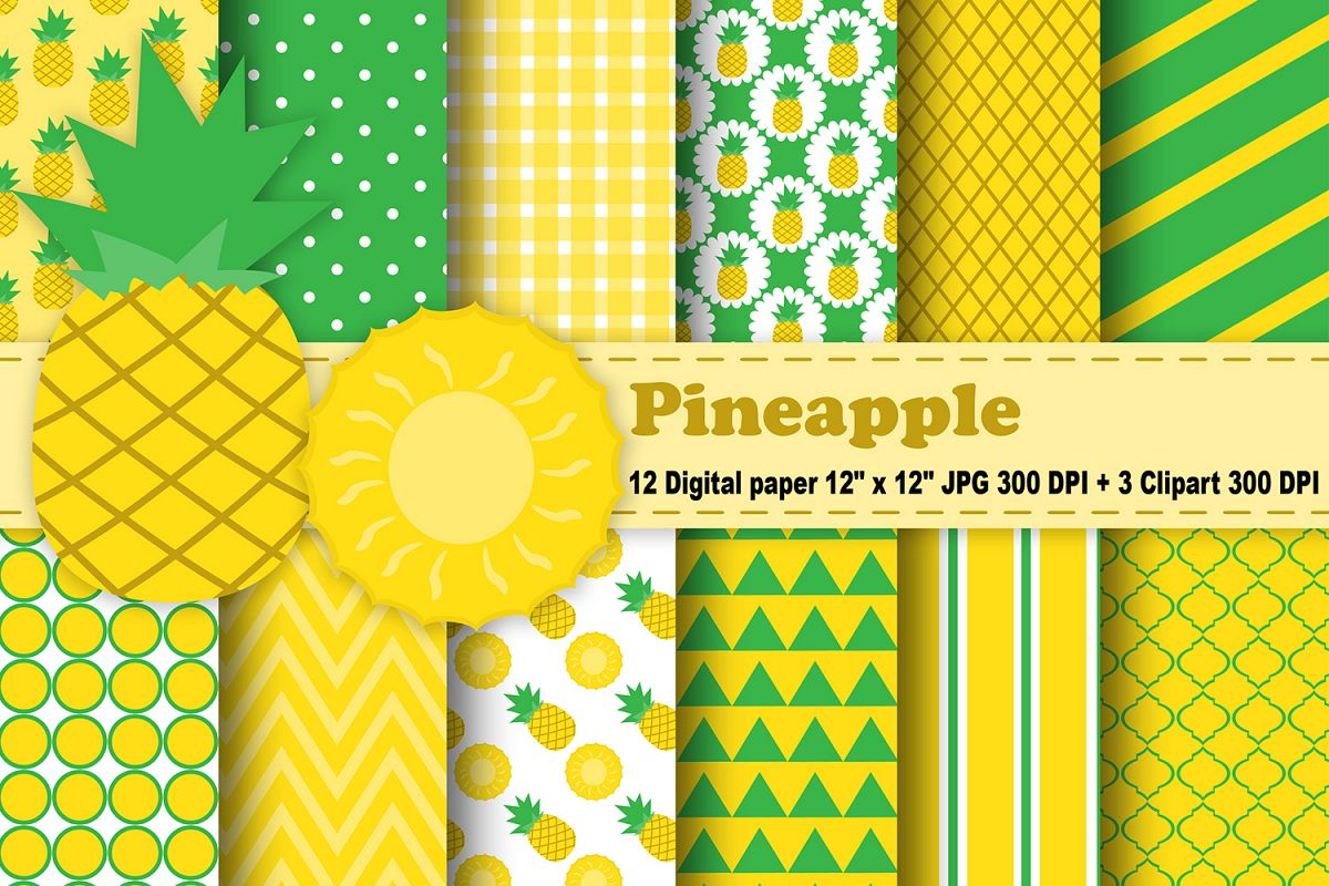 Summer clipart digital paper png freeuse library Pineapple Digital Paper, Fruits Background, Tropical pattern, Summer  background, Aloha Beach, Beach Background, Pineapple Clipart. png freeuse library