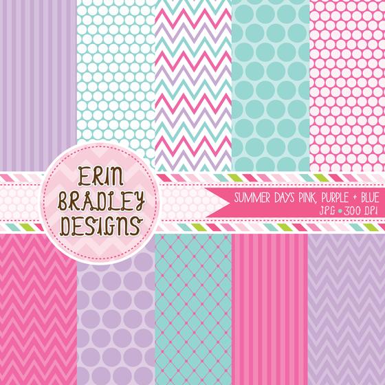Summer clipart digital paper clip art freeuse stock Erin Bradley Designs: New Colors for \