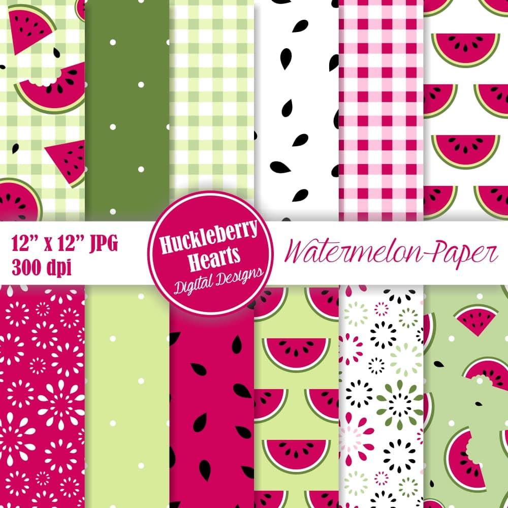 Summer clipart digital paper vector transparent stock Watermelon Digital Scrapbook Paper vector transparent stock