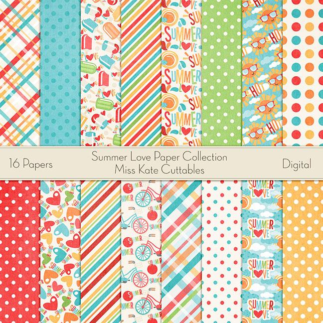 Summer clipart digital paper clipart free download Summer Love Digital Paper Collection SVG scrapbook cut file ... clipart free download