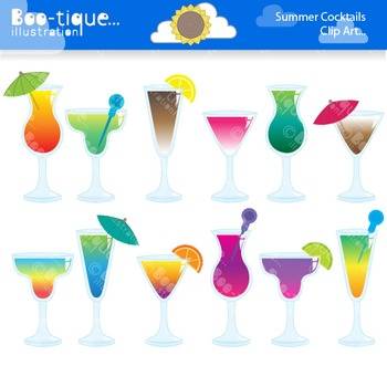 Summer clipart drink vector black and white Clipart- Summer Drinks Clipart. Summer Cocktails Clip Art. Drinks Clip Art. vector black and white