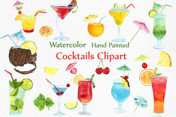Summer clipart drink banner freeuse Watercolor Cocktails clipart SUMMER CLIPART Drinks Clipart Summer fruits  Cocktail Clip Art banner freeuse