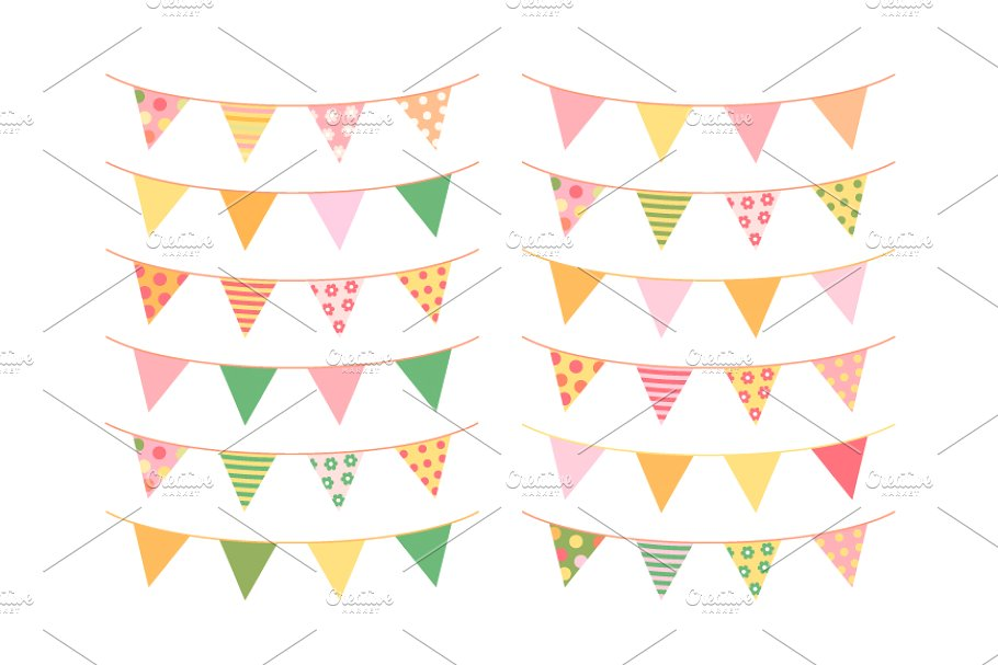 Summer clipart images flags png free library Summer bunting clipart set png free library