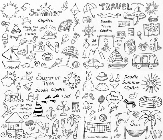 Summer clipart lines clip freeuse stock BIG SET of Doodle Summer cliparts, Hand drawn vacation ... clip freeuse stock