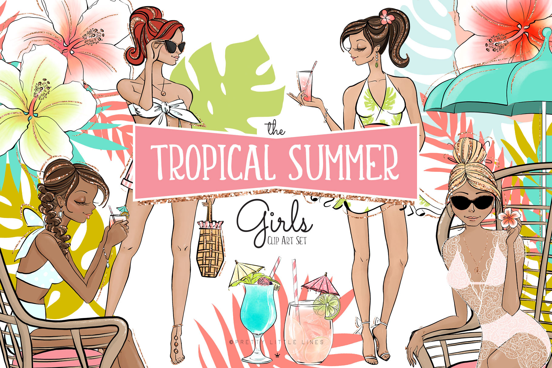 Summer clipart lines png library stock Tropical Summer Girls Clipart png library stock