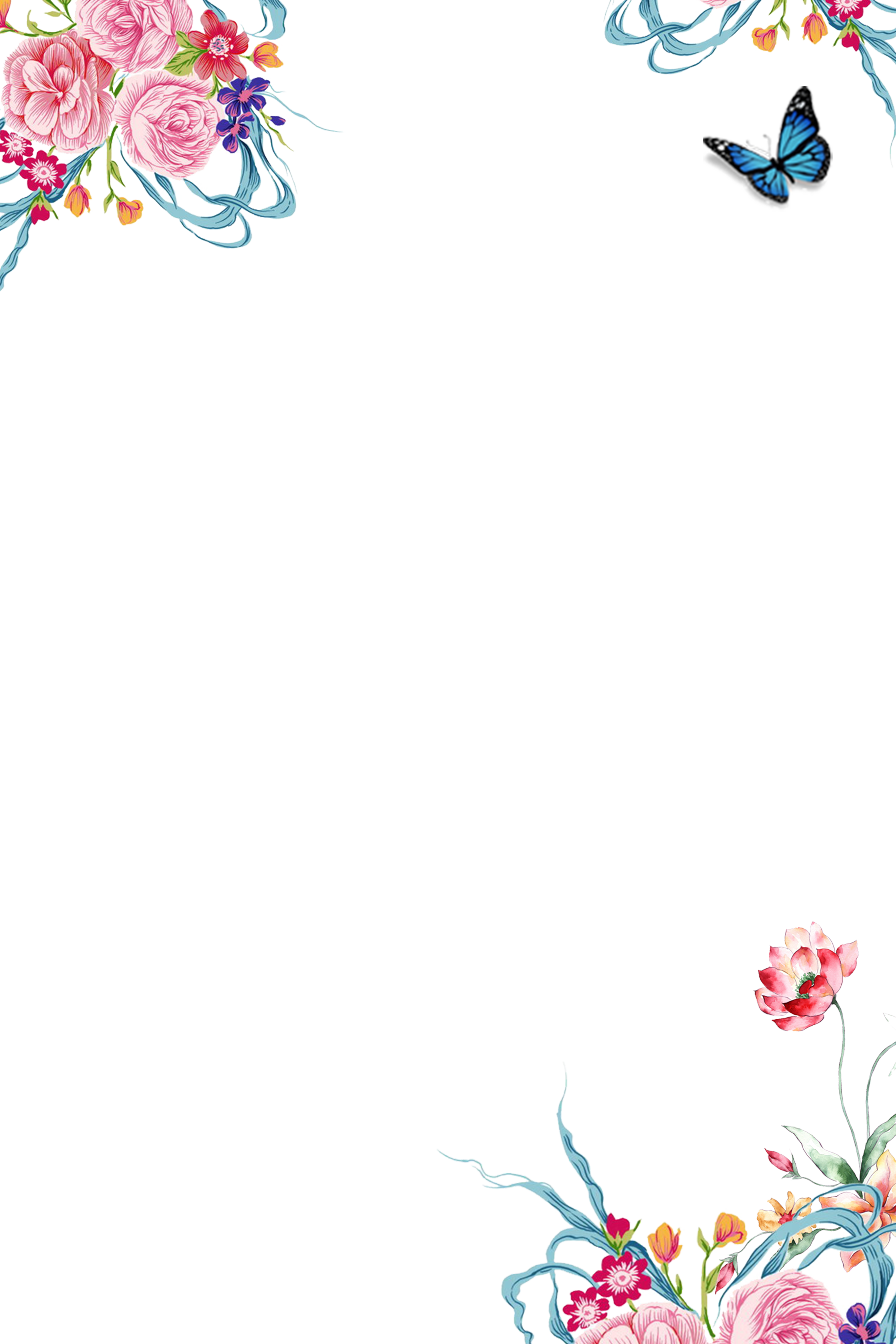 Summer flower border clipart image black and white stock Clip art - Summer borders of flowers 3543*5315 transprent Png Free ... image black and white stock