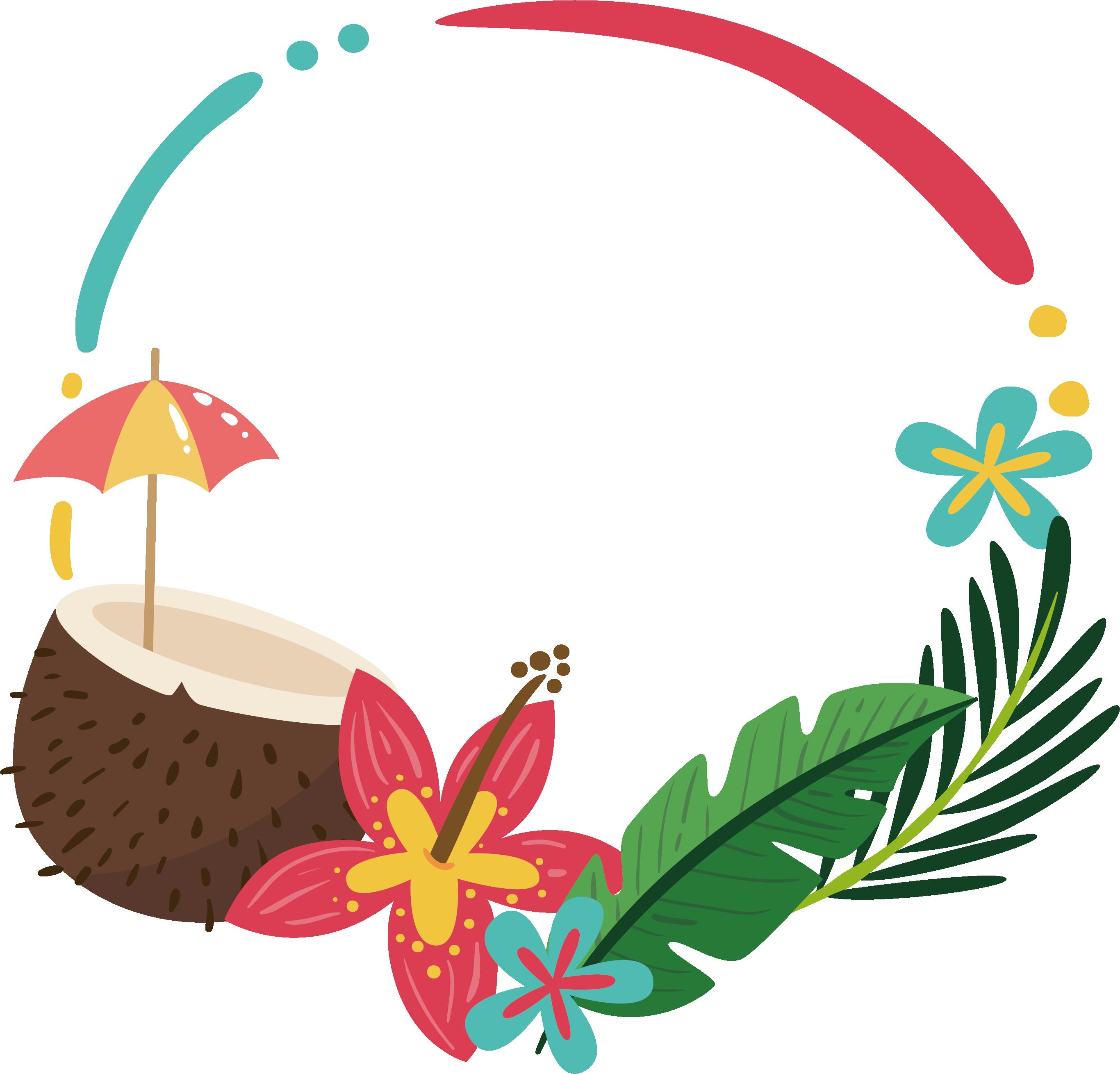 Summer flower border clipart png Clip art - Coconut palm summer border 2732*2620 transprent Png Free ... png