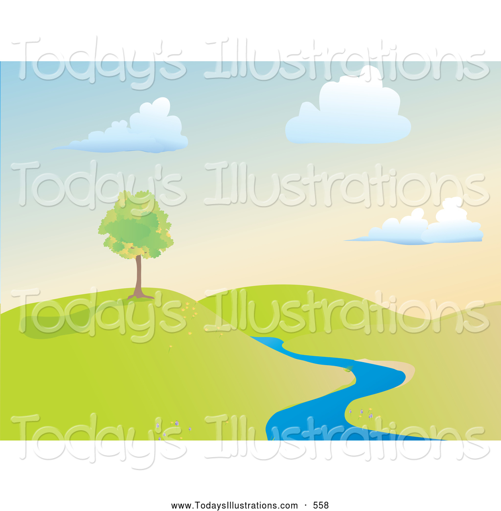 Summer growing clipart picture royalty free Clipart of a Growing Summer Tree on a Hill near a Creek by ... picture royalty free