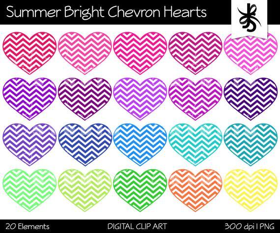 Summer hearts clipart banner royalty free stock Digital Clipart-Chevron Hearts-Summer Bright Colors-Chevron ... banner royalty free stock