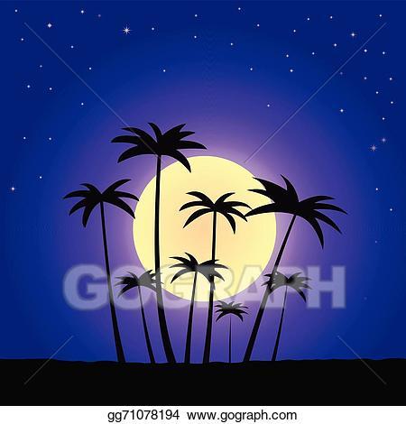 Summer night clipart jpg transparent download Vector Stock - Summer night. Clipart Illustration gg71078194 ... jpg transparent download