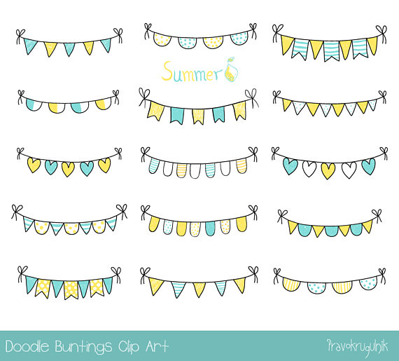Summer pennant banner clipart royalty free stock Hand drawn summer bunting clipart, Yellow and blue doodle ... royalty free stock