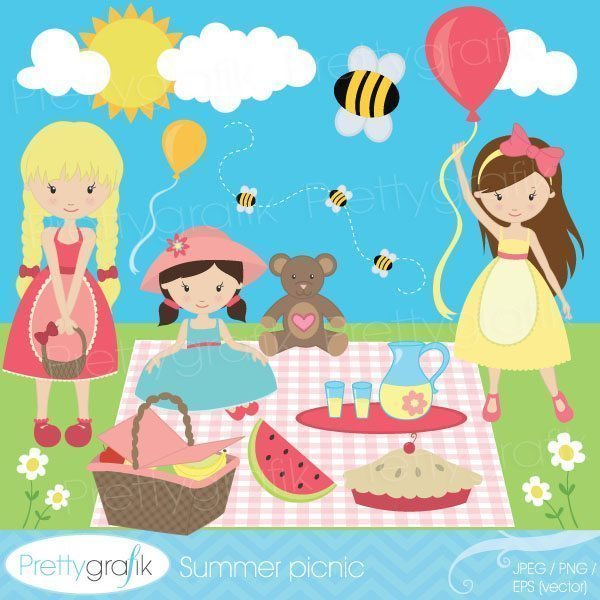 Summer picnic clipart banner royalty free Summer picnic clipart banner royalty free