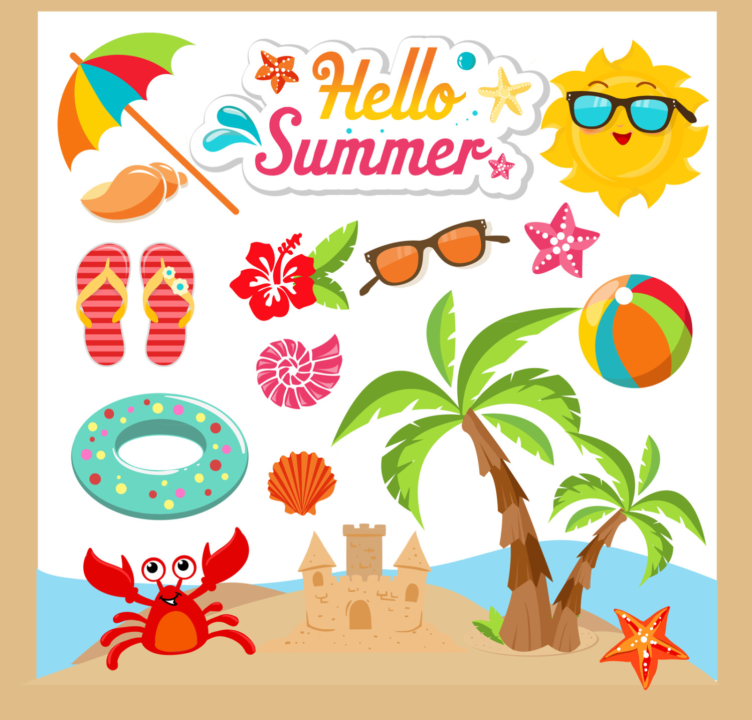 Summer pictures clip art png library Summer clipart | Etsy png library