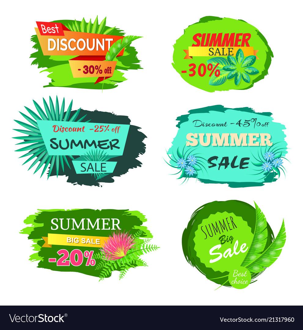 Summer sale clipart 25 image download Set of discount emblems 30 off summer sale promo image download