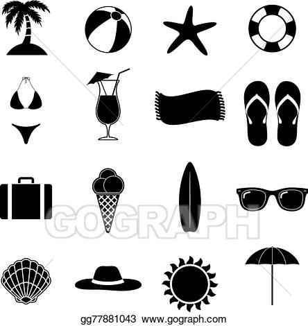 Summer silhouette clipart vector transparent stock Vector Clipart - Summer beach vector illustration. Vector ... vector transparent stock