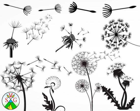 Summer silhouette clipart clip art black and white stock Dandelion svg cut files - flower cricut files - summer ... clip art black and white stock