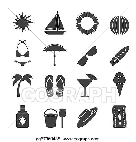 Summer silhouette clipart jpg free EPS Vector - Silhouette summer and holiday icons. Stock ... jpg free