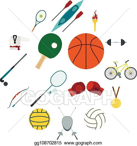 Summer sports clipart png library Vector Illustration - Summer sport flat icons set. EPS ... png library