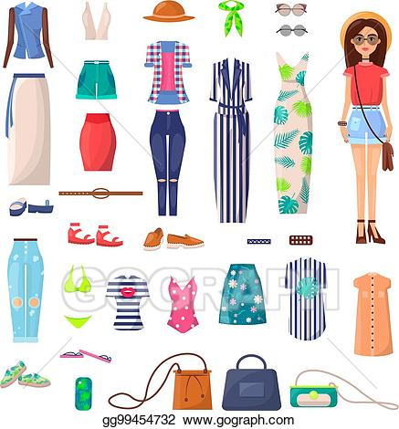 Summer style clipart png free library EPS Illustration - Modern young girl with big summer outfits ... png free library