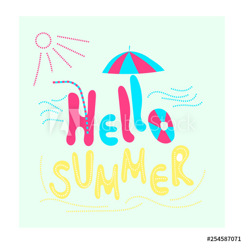 Summer style clipart png black and white download Hello summer. Mood vacation, sea, sun, beach. Flat vector ... png black and white download