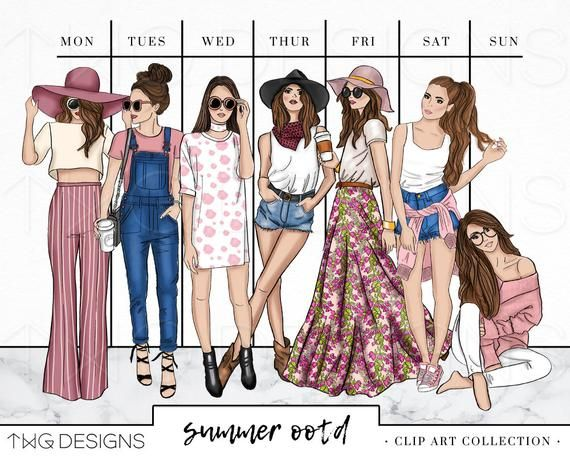Summer style clipart freeuse Fashion Girl Clip Art Bundle Watercolor Clipart PNG Hand ... freeuse