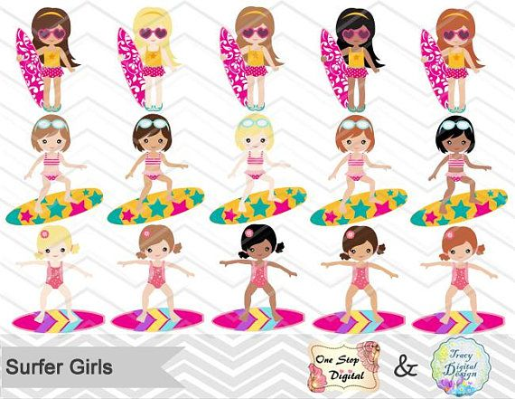 Summer surfing clipart library Digital Surfer Girl Clip Art Instant Download Surfing Girl ... library